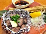 塩水漬け 県産豚タンのわら炙りホイル焼き