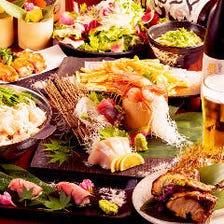 3H飲み放題+金目鯛の煮付け・鶏の煮凝り・鮮魚5点盛り付き■10品 6600円→5500円