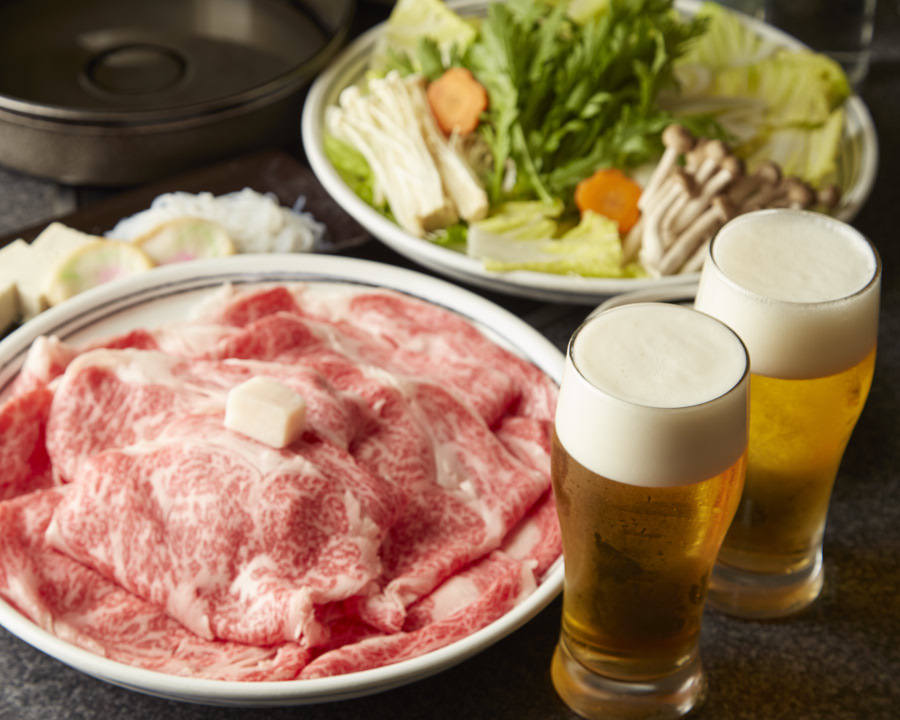■【お食事のみ】すき焼き極上和牛270g ご宴会コース〈全6品〉6,600円(税込)
