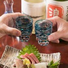 【地酒も堪能】 各コース料金に+1,100円(税込)で日本酒飲み比べをお付けできます