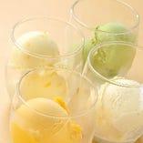 【デザート】抹茶アイス・バニラアイス・柚子シャーベット・マンゴーシャーベット