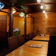 【席のみ予約】ゆったり会話を楽しみながら過ごせるアジアテイストの店内♪