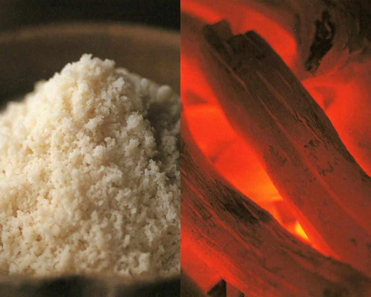 炭は『備長炭』。塩は『沖縄粟国の塩』を使用しております。