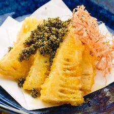 筍の天ぷら 畑のキャビア添え