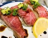 山形牛の炙り寿司 自家製のバルサミコ醤油で