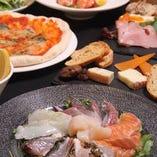 新鮮な海鮮はカルパッチョ・牡蠣…