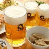 【餃子&ビール】 メガサイズは1L!餃子が一層美味しく☆