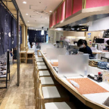 岡山一番街の中の和食酒場。カウンター席でゆったりお過ごしください