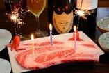 各種お祝いごとにこんな素敵なシャンパンからステーキまで!!