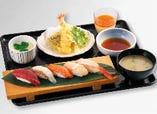 車海老天ぷらと握り寿司ランチセット《5貫》