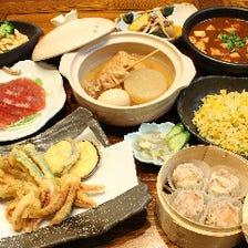 【飲み放題付】お造り盛り、おばんざい、関西風おでん、天ぷら、〆のうどんまで充実『料理コース』宴会