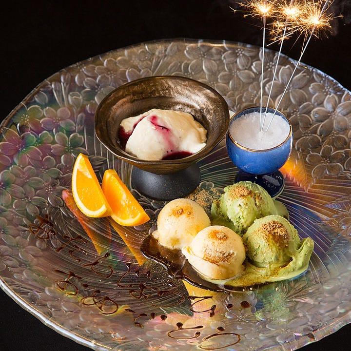 接待やご会食、ご宴会などに。記念日には特製デザートをご用意