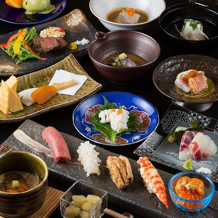 旬を堪能できる鮨と創作和食コース