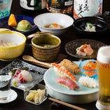 目利きで厳選した旬の鮮魚と職人技の絶品鮨が楽しめるコース