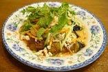 焼きナスと挽肉のサラダ