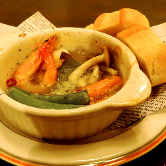 海老と野菜のアヒージョAhijo of shrimp and vegetables