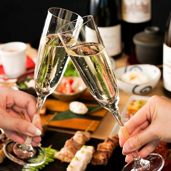 コース料理にオススメのスパークリングワインもご用意しています