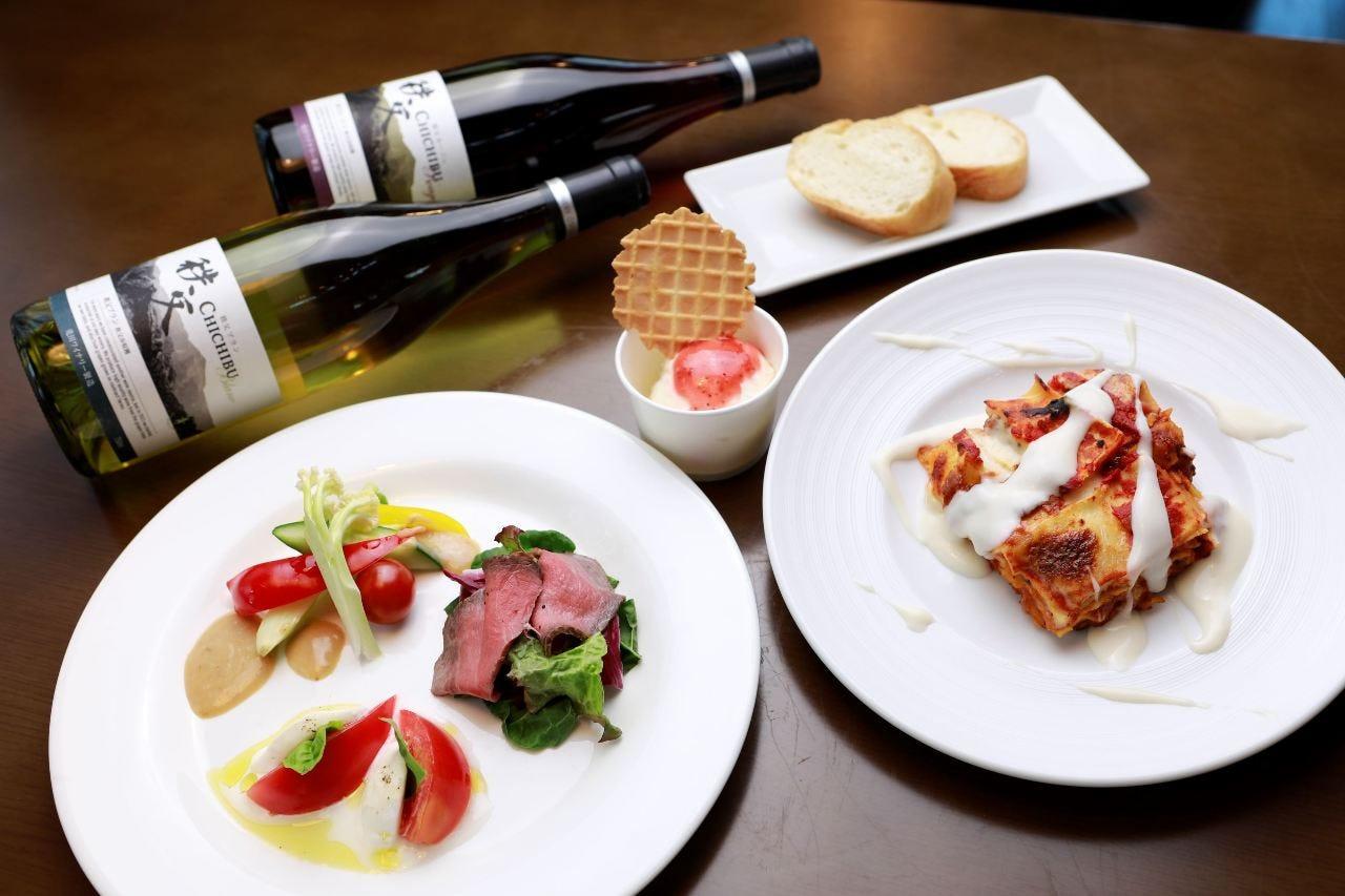 埼玉産の豚肉のミートソースのラザニアをメインにしたコース。