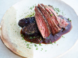 牛ハラミと茄子一本の炭焼き ポルチーニと赤ワインのソース
