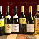 白ワインはメニューは全7種類。メニュー外も多数有