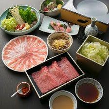 山茶花(さざんか)|つゆしゃぶと近江牛の食べ比べに、近江牛の握り寿司も添えて|宴会 接待