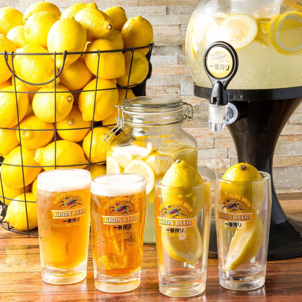 【人気のレモンサワー&ハイボール各種付き】90分飲み放題750円(税抜)!+300円で生ビールも付けられます!