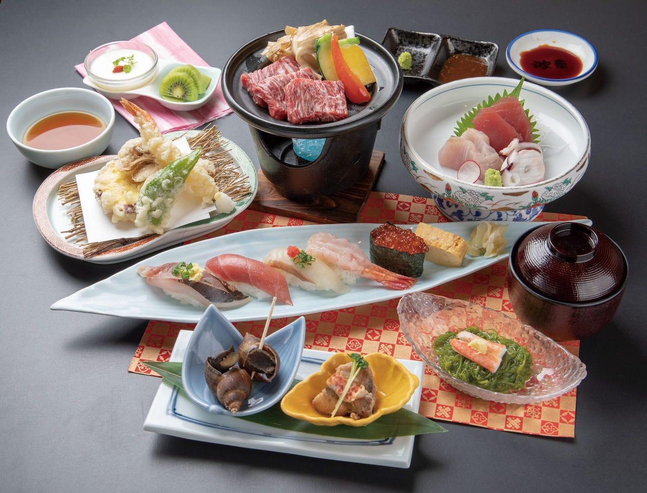 一押しコース《すし会席》  漢方牛鉄板焼きとお寿司で舌鼓