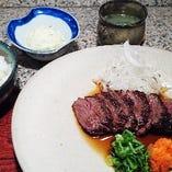 国産和牛網焼きステーキランチ自家製手絞りポン酢でさっぱりと!
