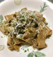 手打ちパッパルデッレパンチェッタとポルチーニ茸のソース