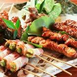 日南鶏串焼150円~ みや川秘伝のタレでじっくりと焼上げます