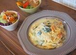 チキンと野菜の豆乳クリームパスタ