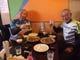 石垣牛ステーキで日本一週達成の乾杯。杉本さんと友人t氏。