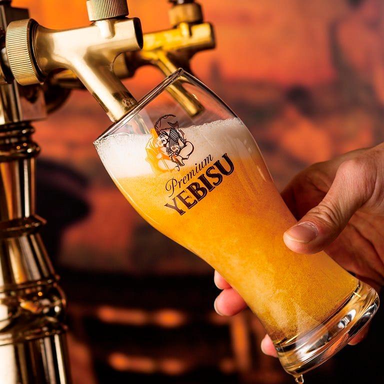 『伝統の一度注ぎ』 こだわりの生ビールをお楽しみください♪
