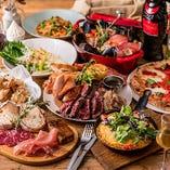肉と魚貝の名物料理をふんだんに盛り込んだ『豪華肉盛りグリル&アクアパッツァコース』