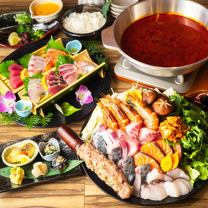 【期間限定】魚介の旨味と旨辛キムチスープが絶品!新鮮なお造りも楽しめる『海鮮キムチ鍋コース』