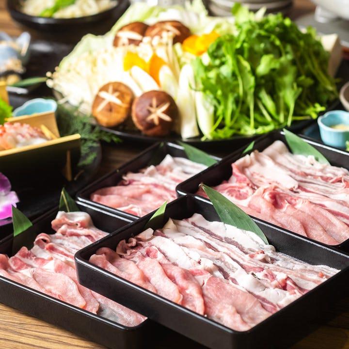 【期間限定】厳選黒豚を出汁にくぐらせて♪お造りやおばんざいなど充実『黒豚しゃぶしゃぶ鍋コース』