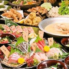 2時間生ビール付飲み放題◆名物の水炊きと馬刺し 九州郷土料理全11品『巡Meguriコース』
