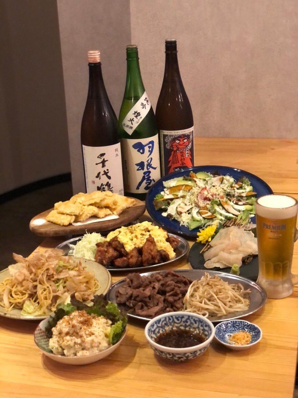 富山の地酒&当店人気メニューを楽しめるコース   9品120分飲み放題付