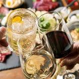 ワインはグラスをはじめ様々なボトルをご用意 フレーバーハイボールも豊富にございます