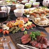 【ポイント利用可能、歓送迎会に】黒毛和牛・鰻など燻製料理を心ゆくまで堪能できる。ソレカラプラン全7品