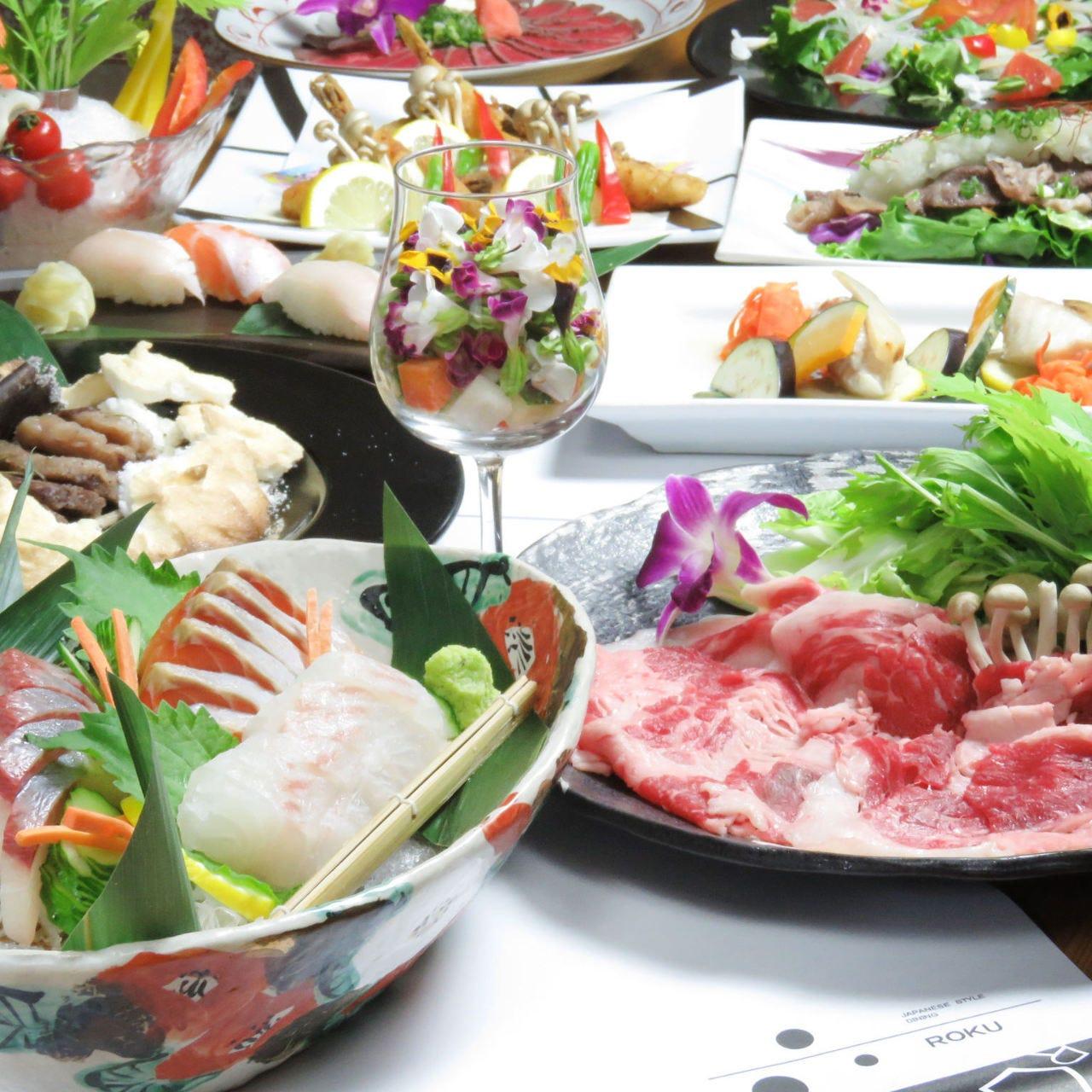 歓送迎会等にも最適!お料理が選べる!六オリジナルコース【2H飲放付】クーポンで4500円(込)