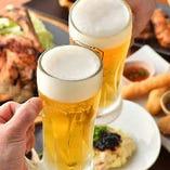 まずは生ビールで乾杯♪