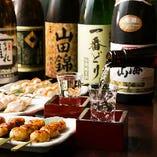 お食事に合わせやすい辛口を中心に、全国から厳選した地酒も豊富です。