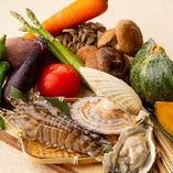 旬の食材を使用した、季節を感じるメニューをお楽しみください。