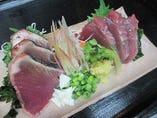 カツオの2種盛り(刺身・タタキ)