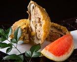 ジャンボ椎茸の肉詰め天ぷら