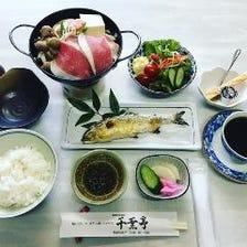 鮎と猪鍋定食