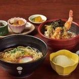 大海老天丼と京生麩・湯葉のあんかけうどん
