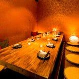 ≪もつ鍋食べ放題 個室居酒屋 はるか 渋谷支店 優しい照明でくつろぎの個室席 ≫