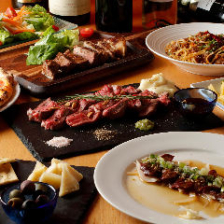 【2.5H飲み放題付】プレミアムプラン(14品)アンガス牛グリル&スペイン赤豚、馬肉レバ刺しなど肉料理充実